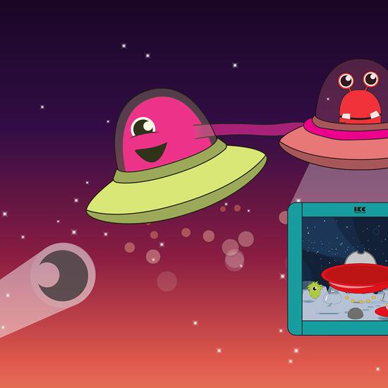Op deze afbeelding staat software Galaxy explorers