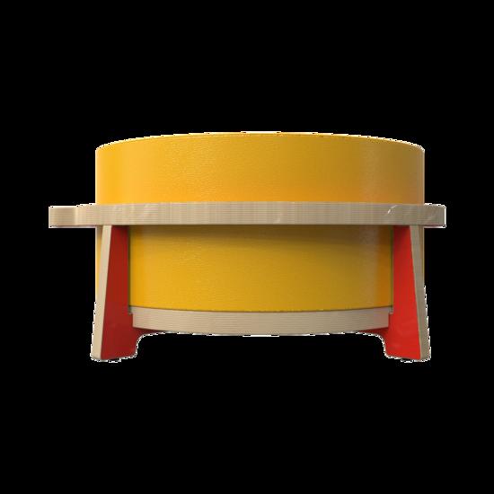 Houten krukje voor kinderen ontworpen voor ronde zachte zit elementen genaamd Soft Play | IKC Kindermeubels Softplay