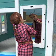 Op deze afbeelding staat een wandspel Crazy mirror