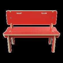 Rood houten bankje voor kinderen | IKC kindermeubels